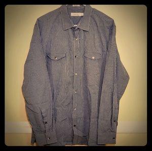 Calvin Klein Button-Up Plaid Long Sleeve Shirt